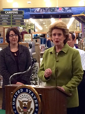 Michigan Democratic Senator Debby Stabenow is shown at Cabela's in Grandville in a joint news conference with Great Lakes conservation leaders calling for swift actionto keep the invasive Asian Carp out of the Great Lakes.