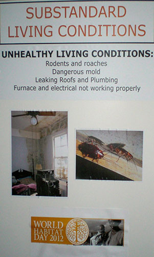 This sign with photos indicates the typical condition of houses before Habitat Kent goes to work on them.