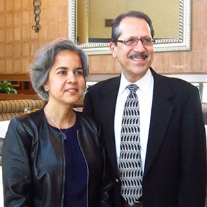 Dr. Marie Lynn Miranda, Dean of the University of Michigan's School of Natural Resources & Environment and Aquinas College President Juan Oliverez after Dr. Miranda gave the college's 17th annual Wege Foundation Lecture.