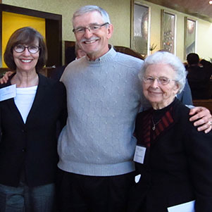 "Peter M. Wege's daughter Mary Nelson and his son Peter M. Wege II and Aquinas College's Sister Mary Weber gather after Dr. Marie Lynn Miranda's Wege Foundation Lecture on ""Linking Children's Health to Our Environment."""