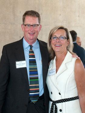 Dana Friis-Hansen is pictured at the welcoming reception with Ellen Satterlee, CEO of The Wege Foundation. Peter M. Wege made the major gift that led to the award-winning new Grand Rapids Art Museum.