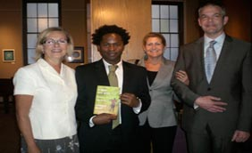 Ellen Satterlee, executive director of The Wege Foundation, Ishmael Beah, City High School's 2010 graduation speaker, Terri McCarthy, vice-president of the Wege Foundation, and Dale Hovenkamp, principal of City High, are pictured at Fountain Street Church before graduation ceremonies. The Wege Foundation sponsored Ishmael Beah's trip from New York City to address City's graduating seniors.